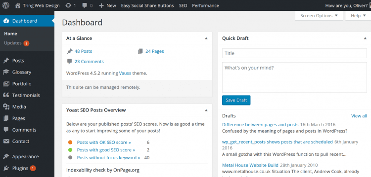 This is called the dashboard if you are new to WordPress