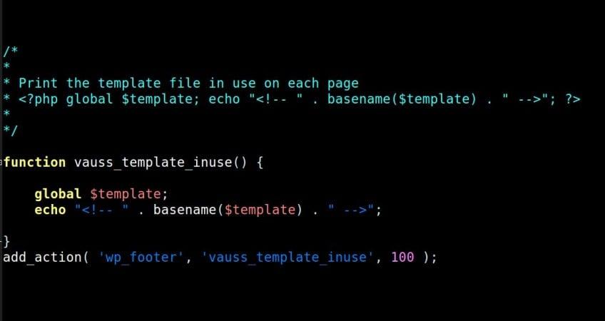 Find WordPress template file in use