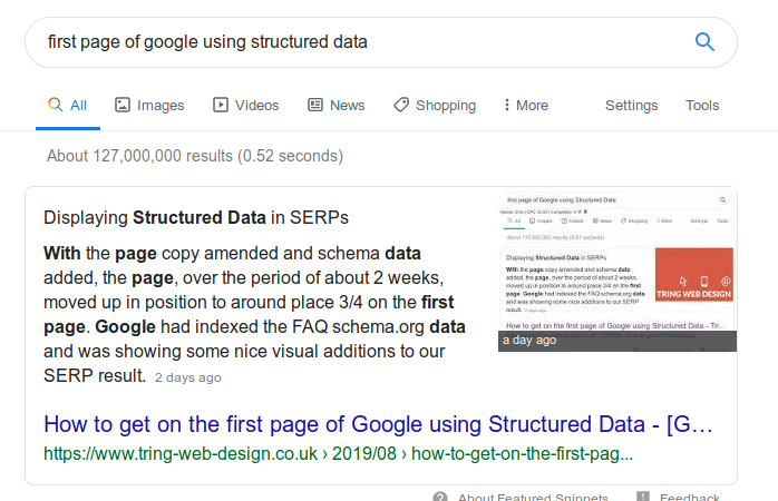 First page of Google using Structured Data [How-To]